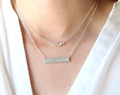 Sterling Silver Gemstone Sparkles and Sterling Name Plate Bar Layering Necklaces Set // Everyday modern simple jewelry