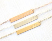 Custom Stamped Name Bar Necklace // 14K Gold Filled // Sterling Silver // Simple everyday hammered word jewelry