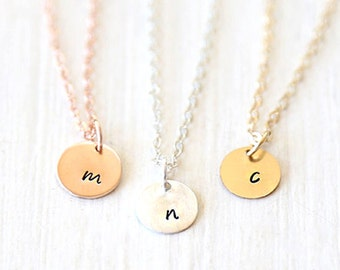 Mini Stamped Initial Circle Necklace // 14K Gold Filled // Sterling Silver // Rose Gold// Simple everyday hammered initial jewelry