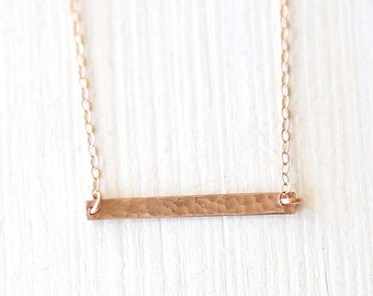 Rose Gold Hammered Thin Bar Necklace / everyday simple minimalist jewelry