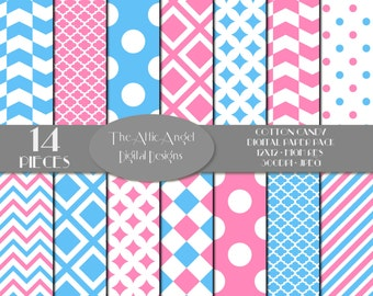 SALE Pink and Blue Cotton Candy Digital Paper, Digital Scrapbooking, Blue Polka Dots, Chevron Stripes, Commercial Use - CU, Instant Download