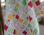 Owls Birds and Pretty Flowers ......A Baby/Toddler Fray Edge Quilt.......Ready to Ship