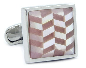 White & Pink Shell Cufflinks