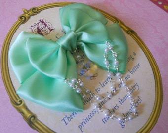 Sweet Lolita Hair clip or Brooch mint bow with glass heart and white pearl beads