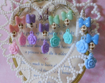 Skull earrings with bows and flowers creepy lolita pastel goth