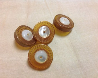 Four Vintage Translucent Bakelite Buttons with MOP Centers and Metal Shank