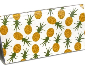 CHECKBOOK COVER - Pineapple Toss. Check Book Cover, Checkbook Wallet, Checkbook Holder, Gift For Her, Gold, Emerald Green, Gift Idea
