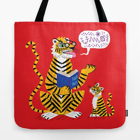"Tiger Tales - Red Childrens Tote Bag - Book Bag -  Record bag - 18"" x 18"""