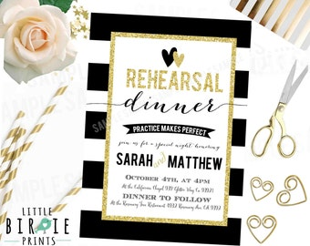 REHEARSAL DINNER INVITATION Gold and Black and White Rehearsal dinner wedding invitation Glitter