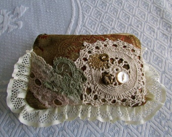 Handheld Clutch Pouch, handmade boho fabric wallet, make up bag decorated vintage crochet doily button