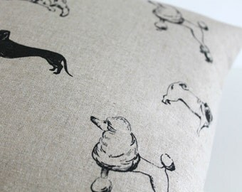 Linen Pillow Cover, 20 Inch Pillow Cover, Dogs Pillow Cover, 20x20 Pillow Sham, Cushion Cover, Throw Pillow Cover - Woofy Black