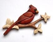 Cardinal w/Branch Intarsia Wall Hanging