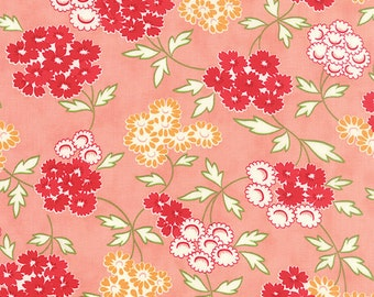 ONE YARD Floral Picnic in Coral Hello Darling by Bonnie and Camille for Moda