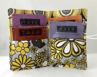 Tea Wallet Yellow Tea Bag Wallet - Tea Bag Case Tea Bag Holder - Tea Holder Tea Bag Cozy Tea Bag Organizer Riley Blake Parisian Main Yellow