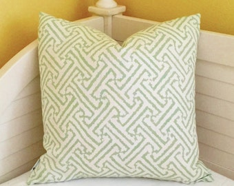 Alan Campbell for Quadrille China Seas Java Java Grande Soft Green and White Designer Pillow Cover with Same Fabric on Both Sides