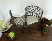 Hammered bronze kissing bench with upholstered cushions - dollhouse miniature
