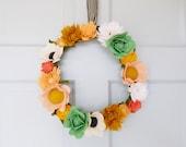 Felt wildflower wreath