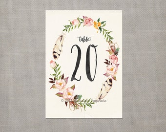 Table Numbers / Wedding Table Numbers / Table Number Cards / Printable Table Numbers / Watercolor Floral 5x7 / number 11 to 20 - tn0009