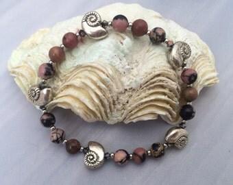 Silver Conch Shell Pink Rhodonite Stretch Bracelet
