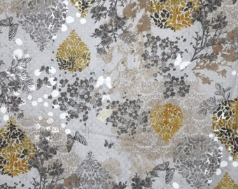 Gray and Mustard Gold Garden Allure Floral Print Pure Cotton Fabric--One Yard