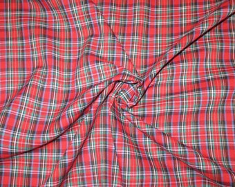 Red with Navy Blue and Hunter Green Small Tartan Print Pure Cotton Shirting Fabric--One Yard