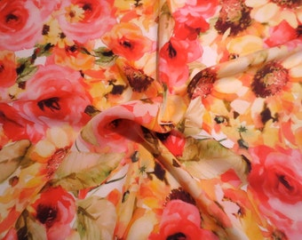 Yellow and Coral Red Floral Print Pure Silk Chiffon Fabric--One Yard