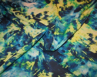 Blue Green and Yellow Splatter Paint Print Stretch Silk Georgette Fabric--One Yard