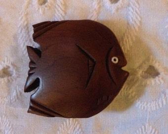Vintage Wood Fish Pin - Angel Fish Pin