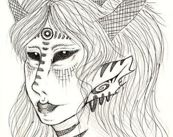 4x6 5x7 6x8 Fine Art Print Whispers of Night, Elf, Black Ink, Black Pen, Horror, Dark, Elven Fantasy Mystical Magical Art