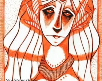 4x6 5x7 6x8 Fine Art Print The Horned Angel, Fantasy Portrait, Angel, Fallen Angel, Elf, Elven, Magical Mystical, Red,
