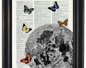 BOGO Sale Moon With Butteflies Art Print with A HHP Original with HHP Signature Butterflies Wall Decor Dictionary Dictionary Prints