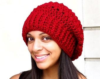 Crochet Slouchy Hat, Oversized Slouchy, Tam Hat, Crochet Hat, Color is Cranberry