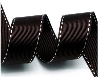 Brown/White Grosgrain Stitch Ribbon - 5mm(2/8''), 10mm(3/8''), 15mm(5/8''), and 25mm(1'')