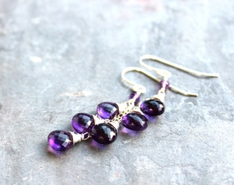 Amethyst Earrings Dangle Sterling Silver Purple Gemstone Trio Briolette Earrings February Birthstone