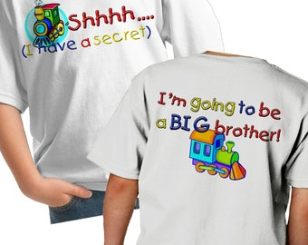 Train Big Brother Shirt - Shhh i have a secret I'm going to be a big brother train t-shirt - Train Shirt - sibling train shirt