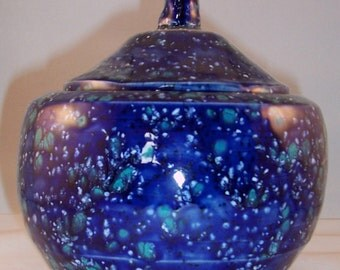 Speckled Blue Pot with White & Green