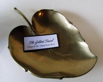Vintage Brass Leaf Tray, Hollywood Regency