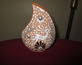 Gorgeous Midwestern Style Hand Made/Painted Clay Candle Holder