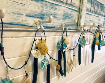 Beach House Garland Turquoise Driftwood Rope Sea Shell Starfish Capiz Bead Ornament Decor