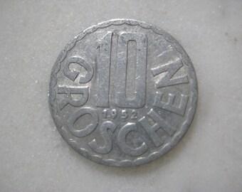 1952 Austria,  Aluminium Coin, 10 Groschen