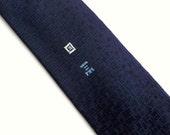 Vintage 60's Skinny Tie Necktie Navy Blue Rayon with Embroidered Flourish Design
