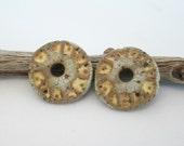 Rustic Almond Stoneware Coin Charm Pair