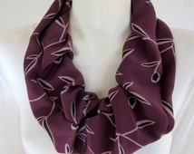 Silk Infinity Scarf Pink Hued Purple Abstract Design with Black Leaves Loop Circle Collar Scarf