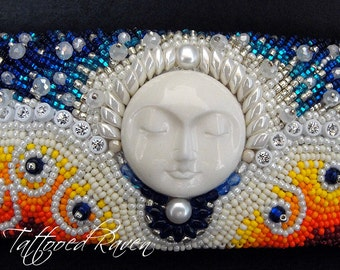 RESERVED FOR RACHELLE: Moon Filled Dreams of Tranquility Embroidered Bracelet