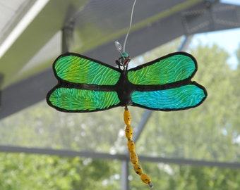 Dragonfly Suncatcher Stained Glass Rippled Green, Blue and Yellow