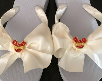 Bridal Flip Flops/Wedges.Wedding Flip Flops.DISNEY WEDDINGS.Disney Accessories..Bridal BoWz Flip Flops..Beach Weddings.Red Mickey Buttons.
