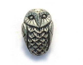 Bubo Owl Green Girl Studios Pewter Beads
