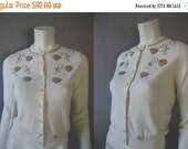 ON SALE 1950s Beaded Cardigan - Vintage 50s White Sweater - Mint with Tags