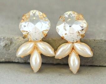 Crysatl stud earrings, Bridal Pearl earrings,Swarovski Pearl earrings,Crystal Bridal earrings,Rhinestone Earrings, Bridesmaids Crystal Studs