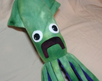 Mr Beaumont the Green and Purple Fleece Squid - Plush Stuffed Ocean Marine Animal